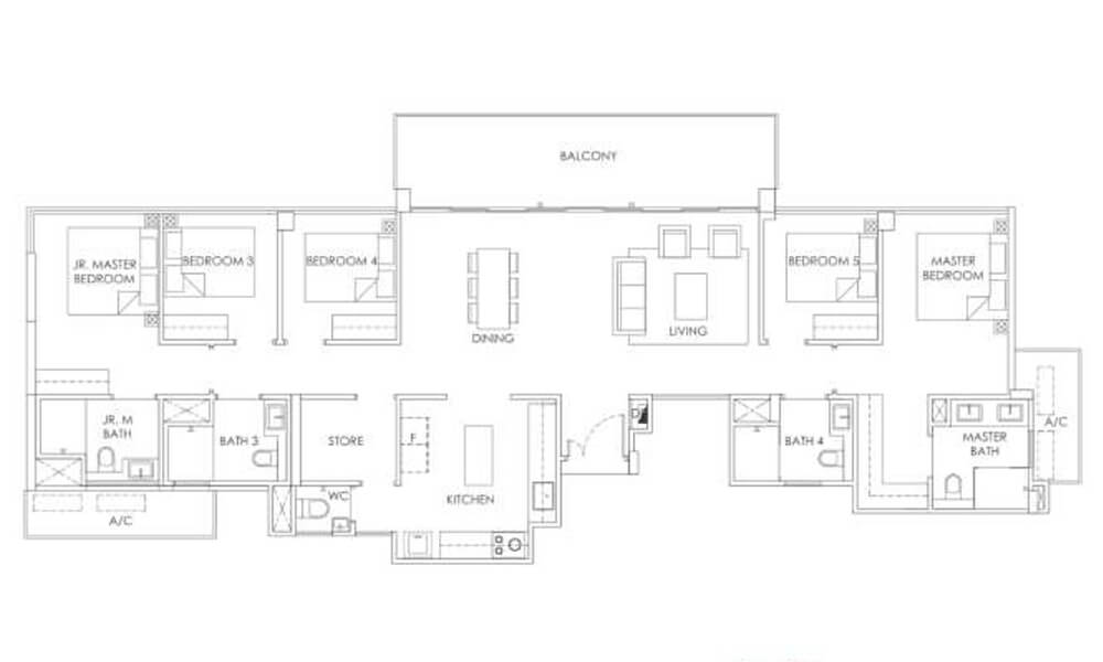 5 Bedroom Penthouse Type PH2 1,722sqft